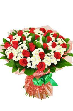 Букеты из роз и хризантем