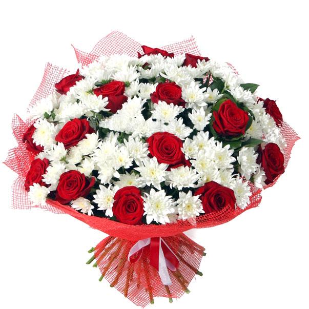 Фото букет хризантемы и розы